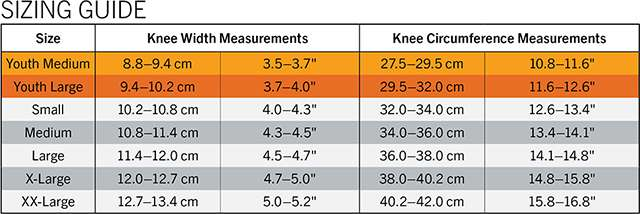 KNEE SIZING GUIDE TABLE MED